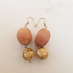 Marble Beige & Wood Bead Earrings